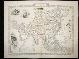 Asia: 1852 Antique Map. Decorative. Tallis Rapkin